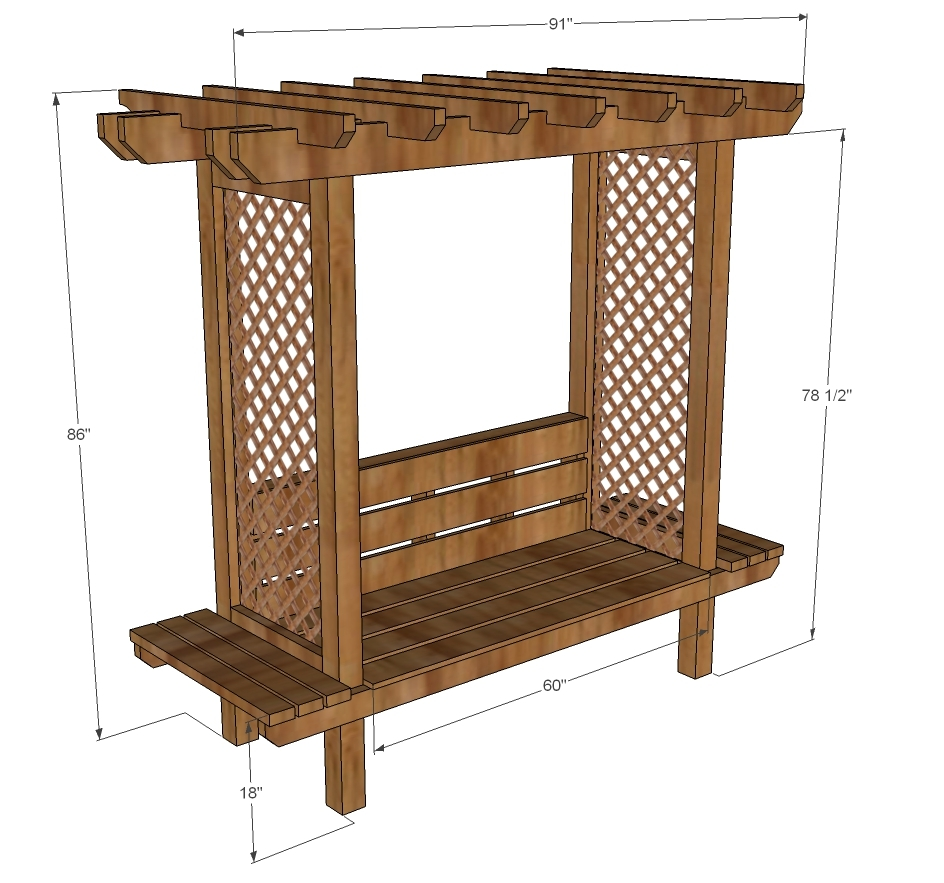 ana white outdoor bench with arbor diy projects. Black Bedroom Furniture Sets. Home Design Ideas