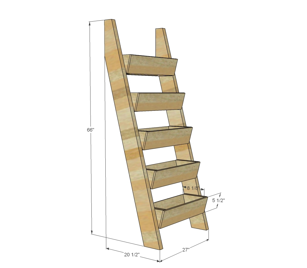 Diagram showing dimensions for cedar ladder planter