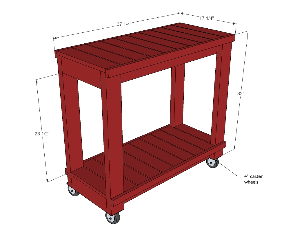 dimension diagram for red bar cart