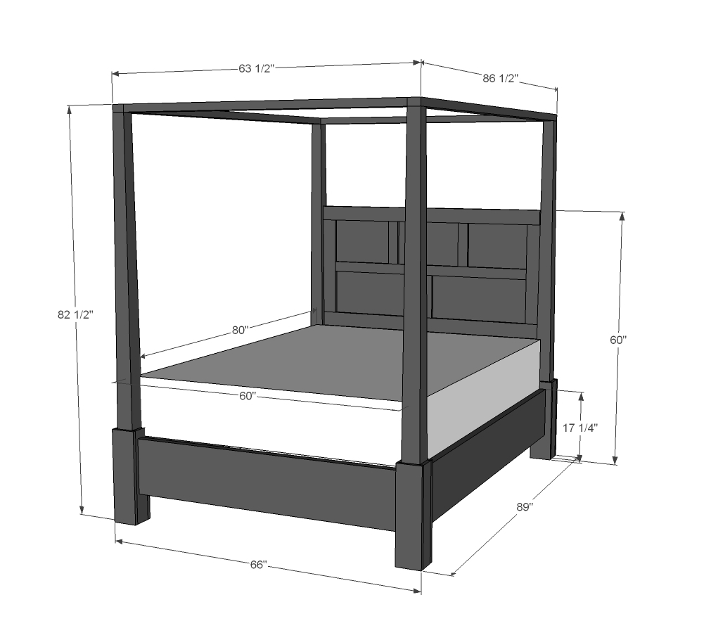 Queen Size Canopy Bed Dimensions