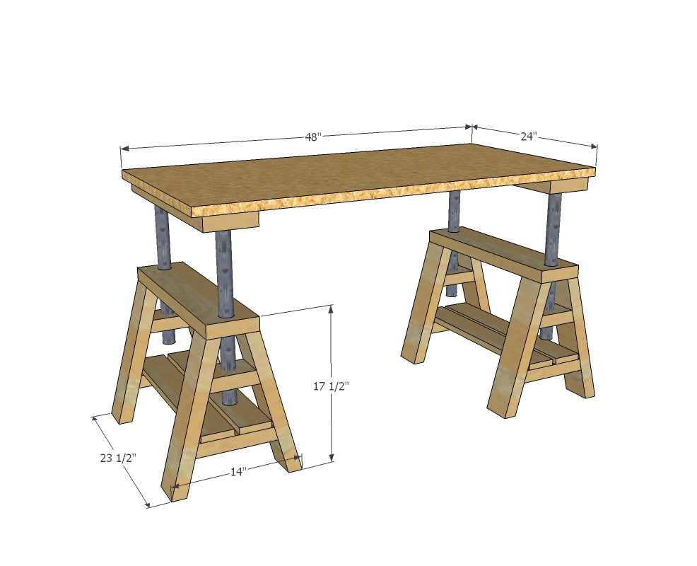 ... Indsutrial Adjustable Sawhorse Desk to Coffee Table - DIY Projects