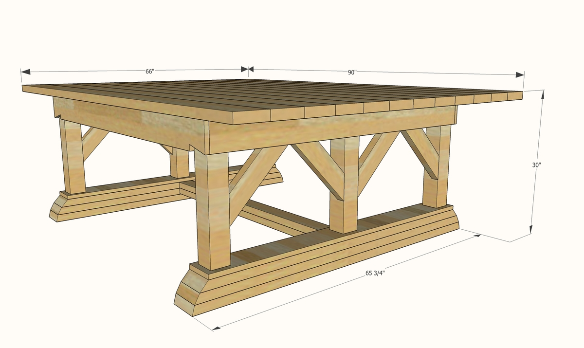 Double Trestle Outdoor Table
