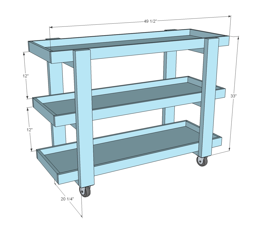 rolling bar cart dimensions diagram