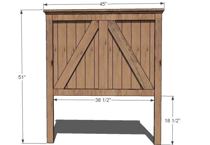 rustic farmhouse headboard dimensions diagram