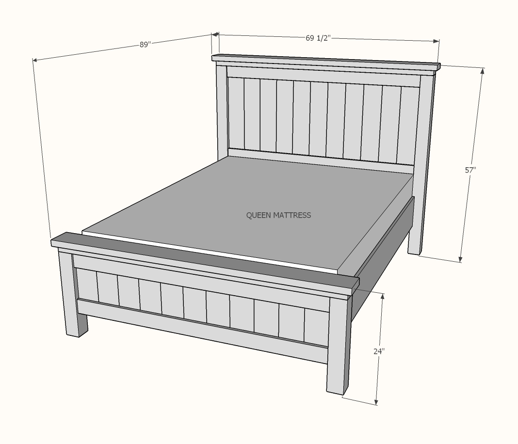 Farmhouse Bed Queen Sized Ana White