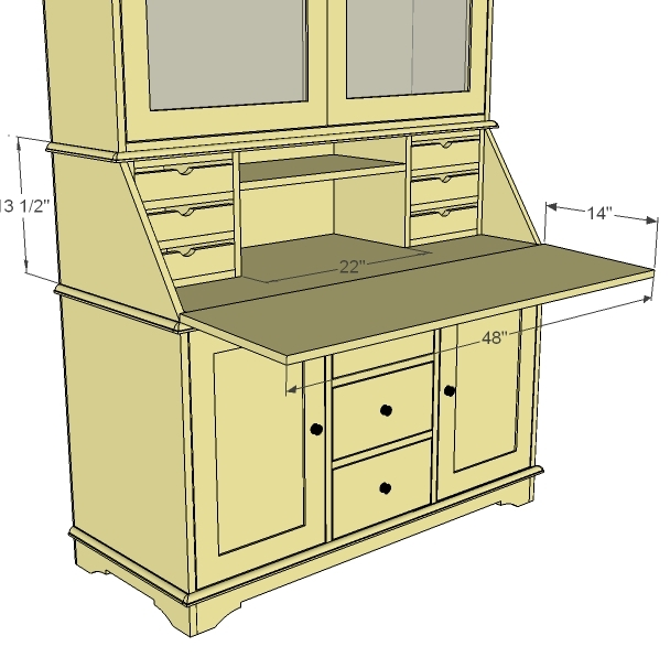 Small secretary desk plans joy studio design gallery for Small hut plans