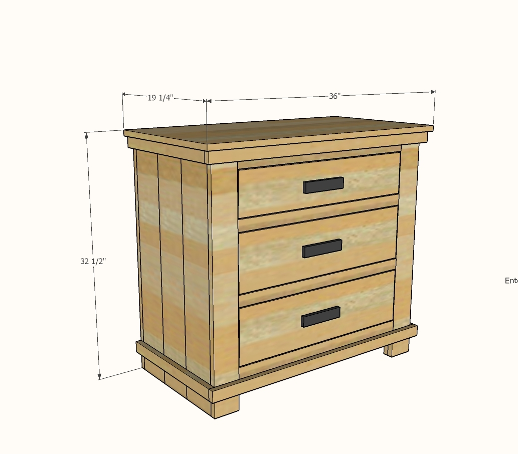 diagram image showing dimensions of bathroom vanity with three drawers and planked wood design