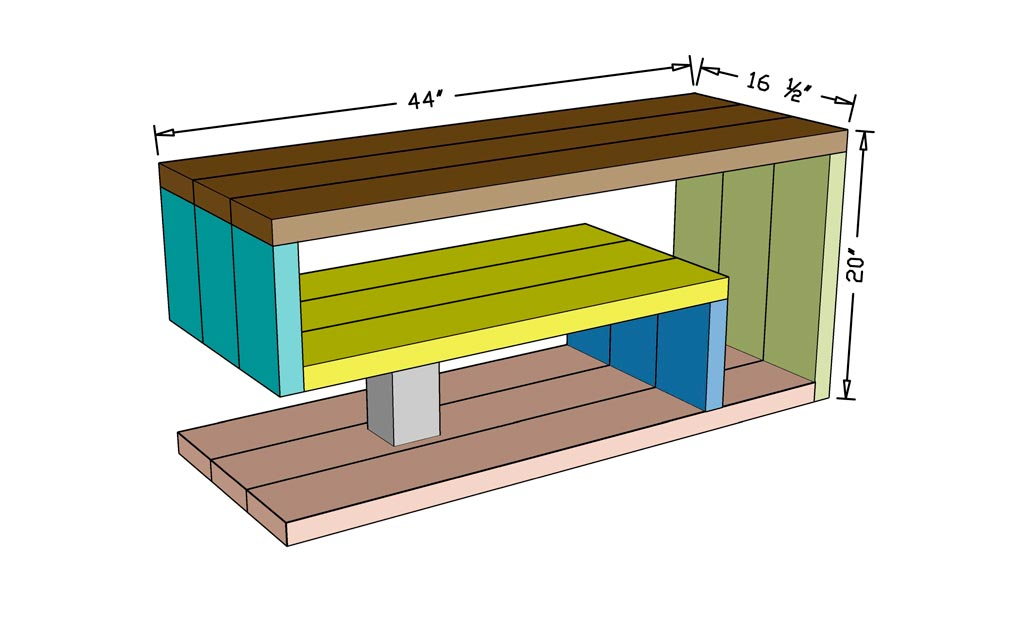 Dimensional diagram of a shoe rack bench
