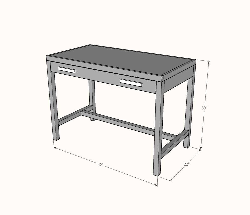 simple writing desk dimensions