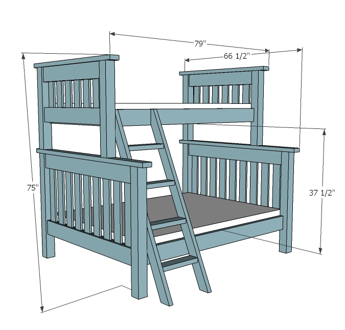 Ana White Twin over Full Simple Bunk Bed Plans DIY  : Simple Bedbunk twin over full 2 from www.ana-white.com size 675 x 645 jpeg 156kB
