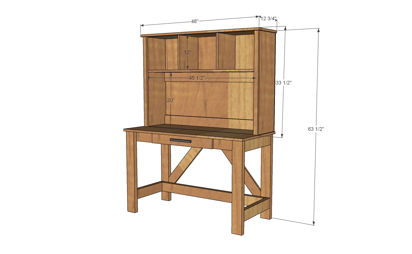 desk hutch dimensions