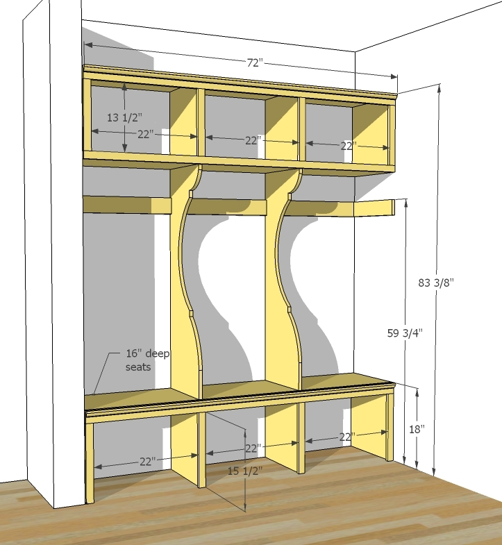 Dimensions are shown above. You can build to suit, just keep the bench