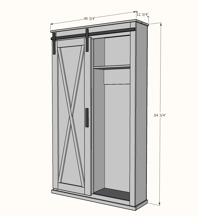 barn door cabinet with hooks free woodworking plans dimensions