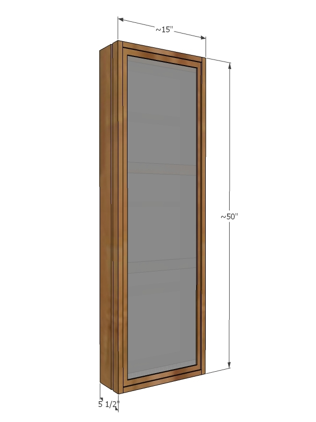 sliding mirror cabinet dimensions