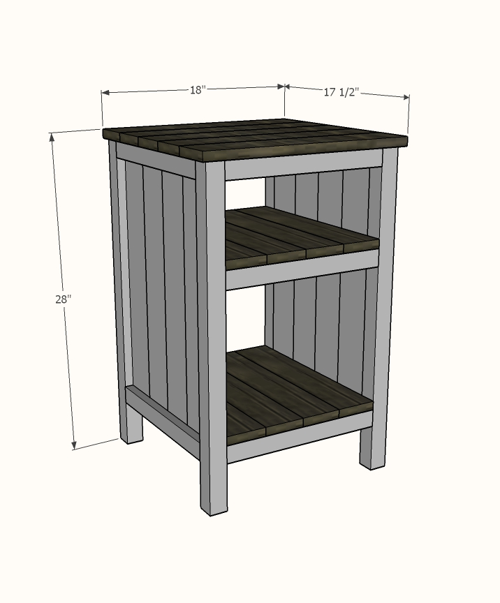 bedside table with shelves dimensions