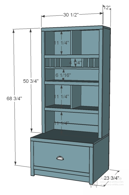Dimensions: - Ana White Entryway Mail Sort And Charging Hutch - DIY Projects