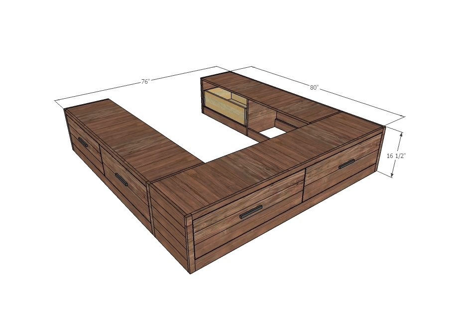Brandy Scrap Wood Storage Bed With Drawers King Ana White