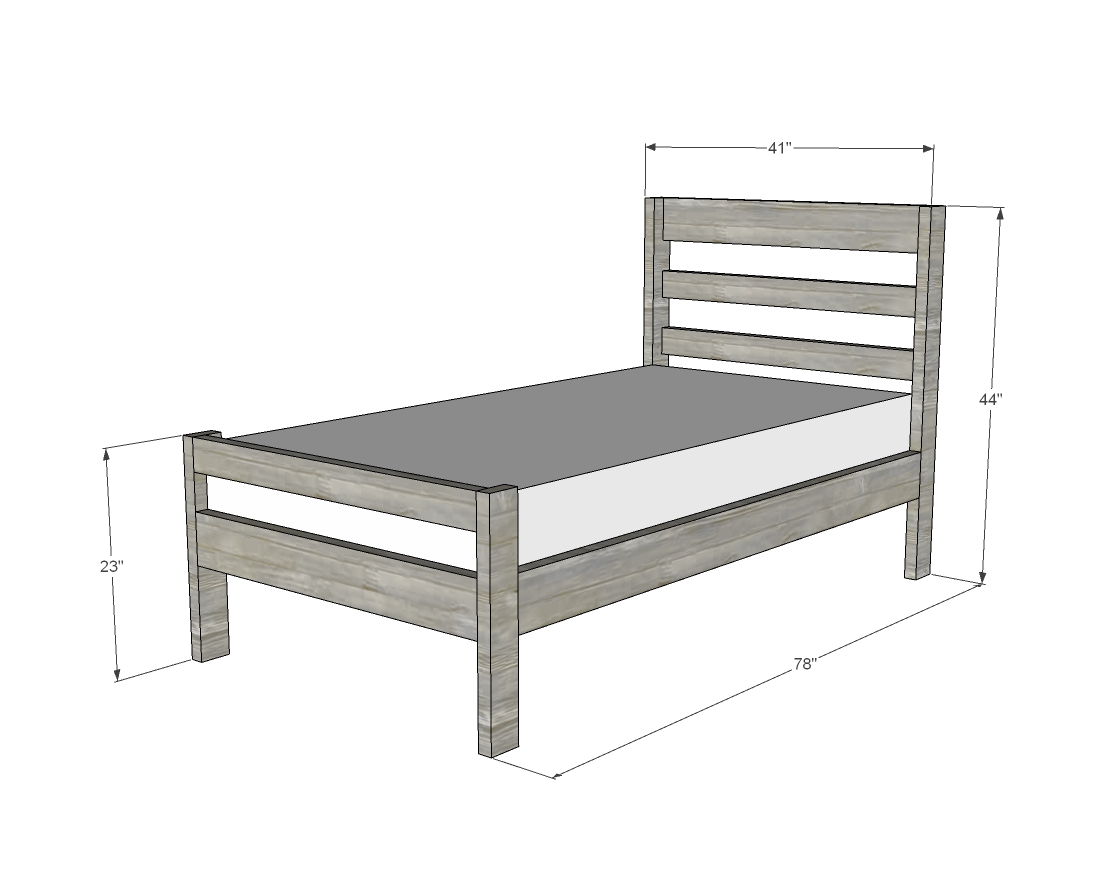 dimensions diagram for twin bed frame