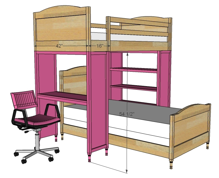 ana white chelsea bunk bed system desk or bookshelf supports diy projects. Black Bedroom Furniture Sets. Home Design Ideas