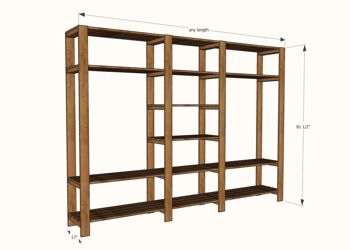 wood closet shelving dimensions