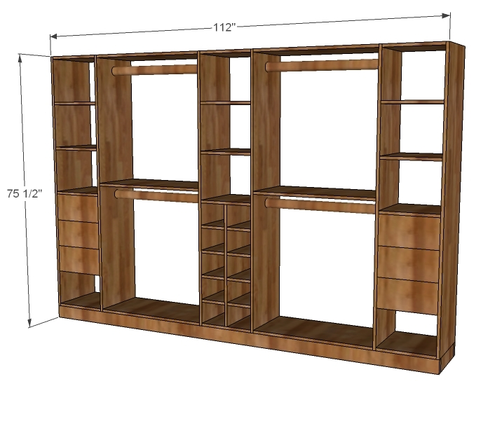 Ana white master closet system diy projects Wardrobe cabinet design woodworking plans