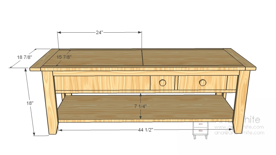dimensions for coffee table