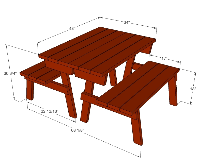 free plans for picnic table with separate benches