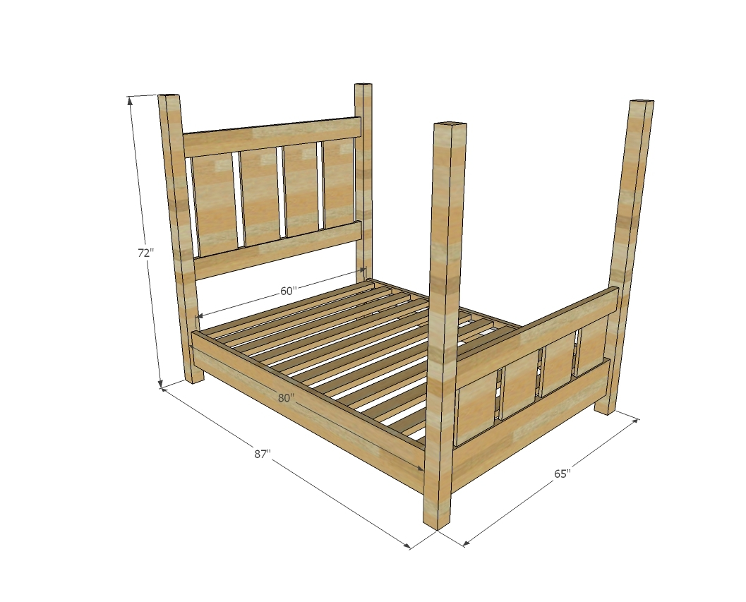 Ana white slatted four post farmhouse bed queen diy for Diy poster bed