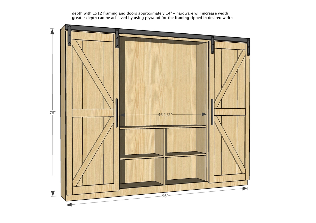 barn door entertainment center dimensions diagram
