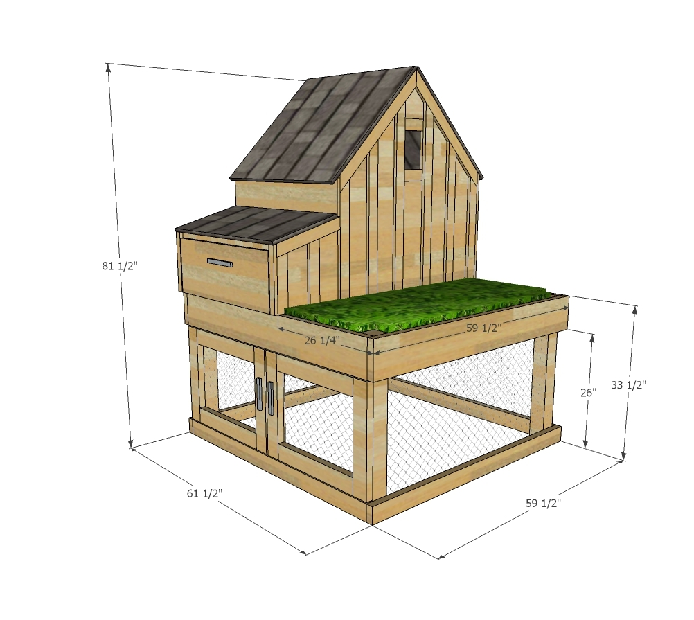 Small Chicken Coop With Planter Clean Out Tray And Nesting