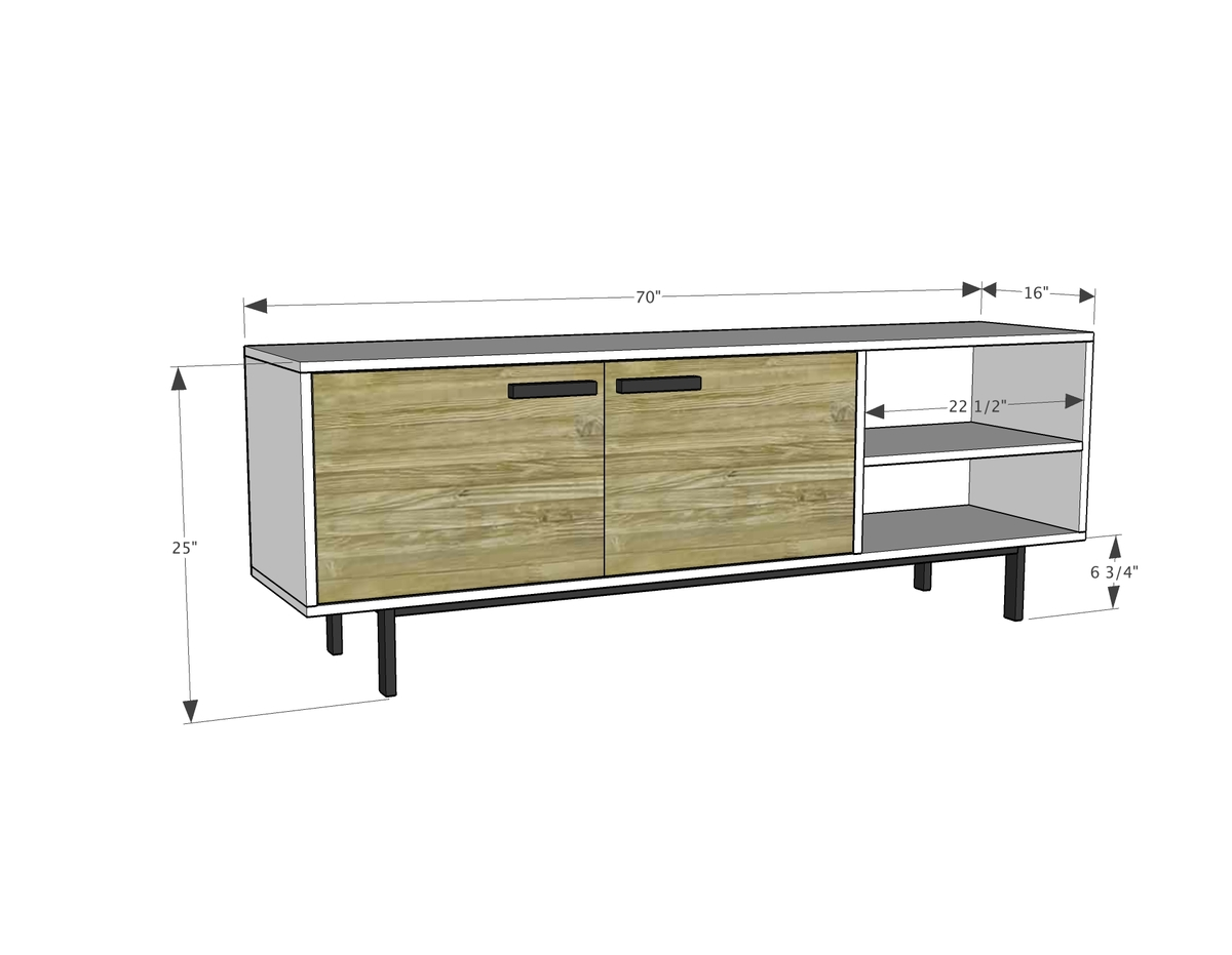Media Stand Designs : Ana white long modern media console or entertainment