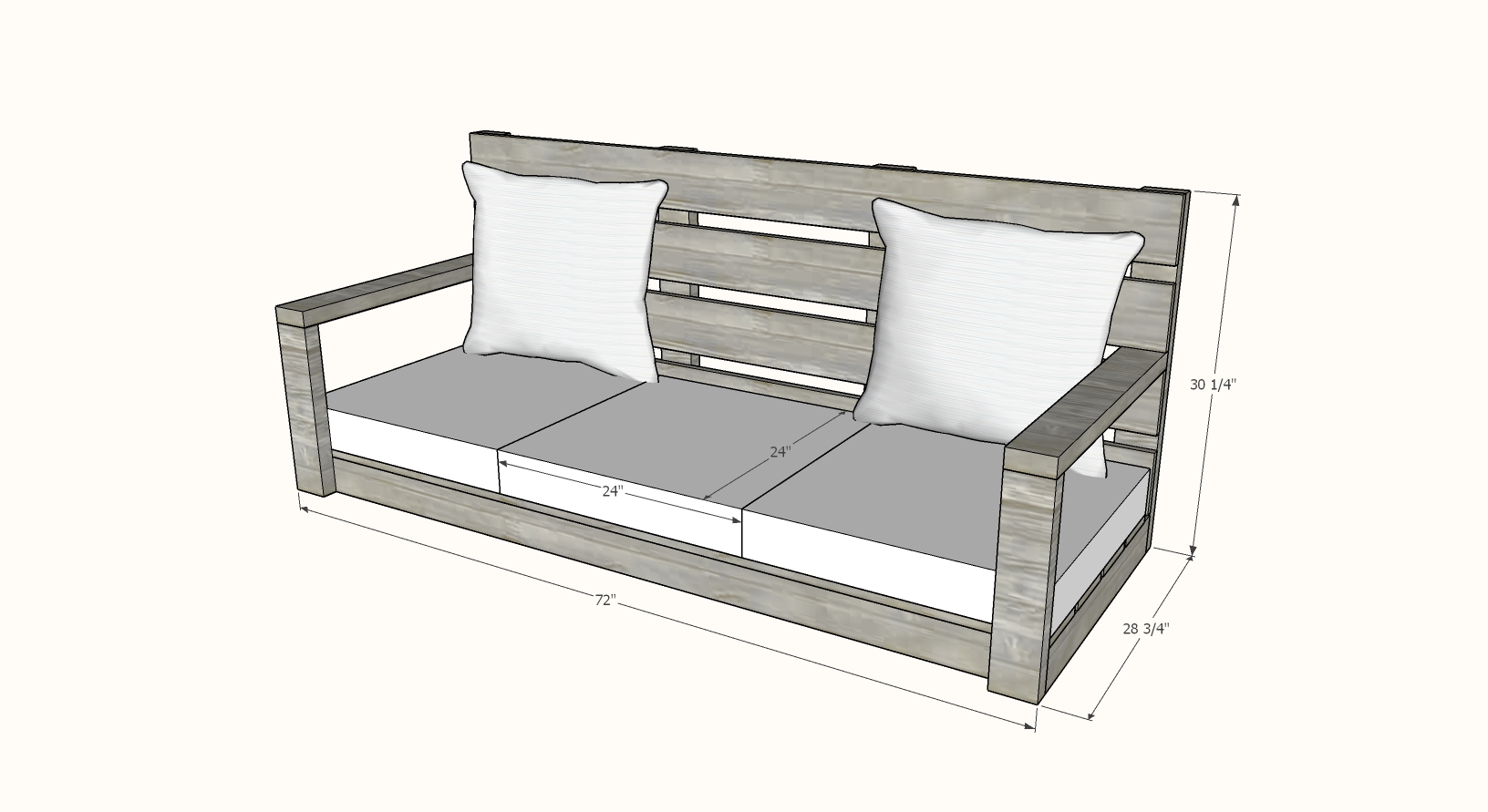 Picture of: Large Modern Porch Swing Couch Ana White
