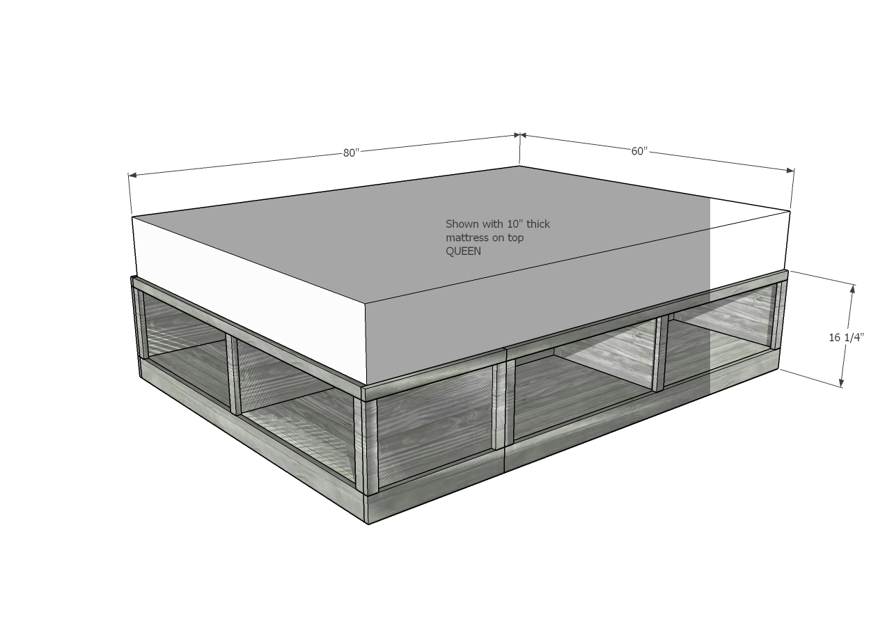 "Dimensions for storage bed, cubbies are 20"" deep"