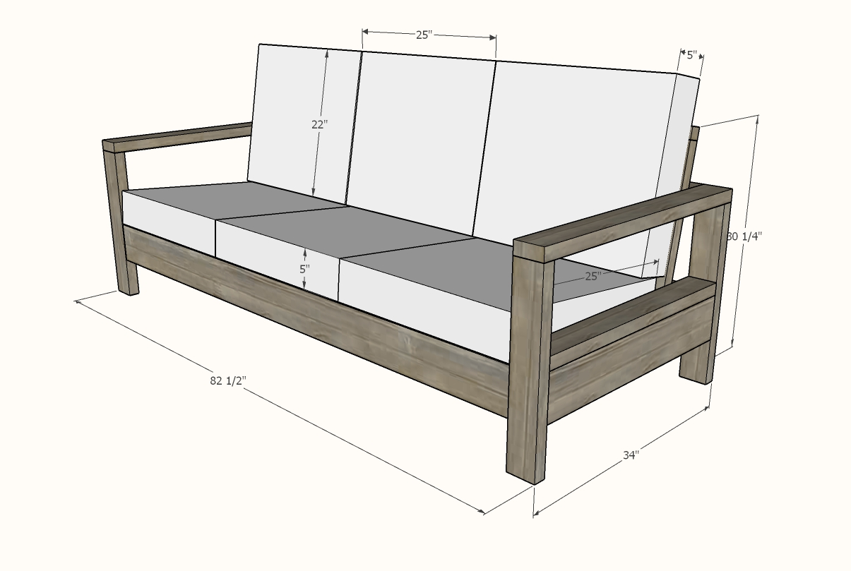 outdoor sofa dimensions