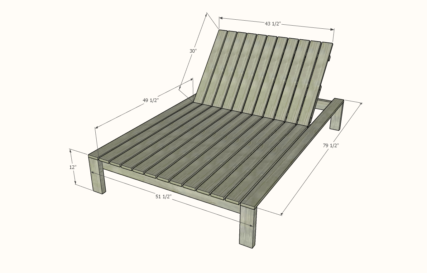 outdoor double chaise lounge dimensions