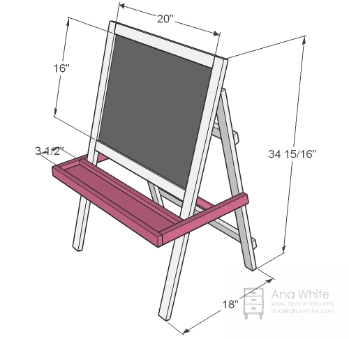 Ana white toddler chalkboard easel diy projects dimensions solutioingenieria Gallery