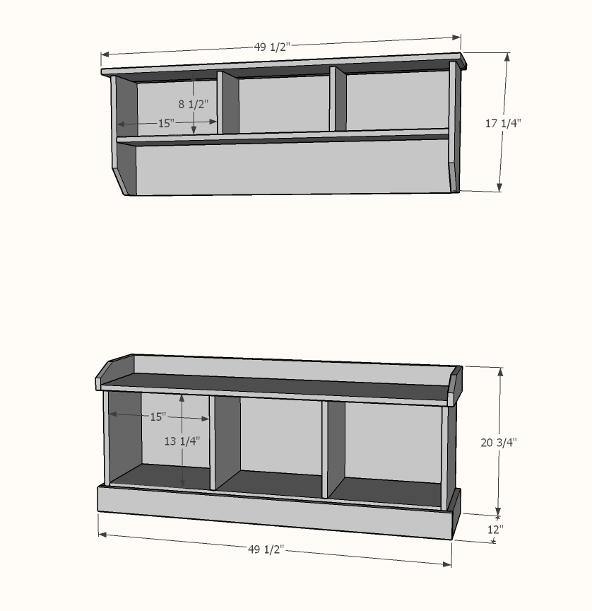 Entryway bench and shelf plans