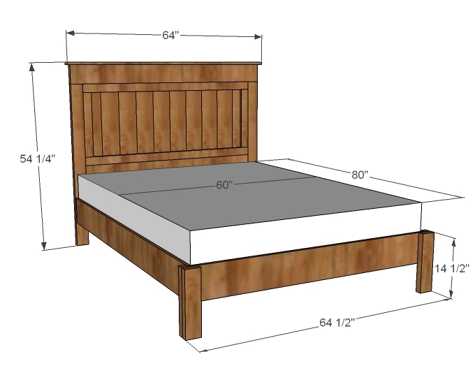 farmhouse king size bed frame plans
