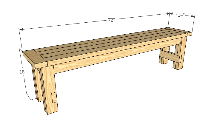 dimensions image for farmhouse bench