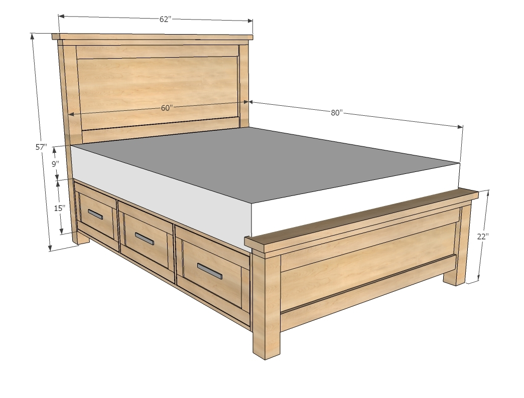 Ana White Farmhouse Storage Bed With Drawers