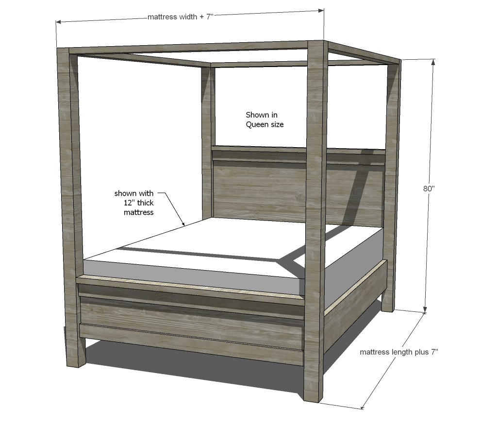 dimensions for farmhouse bed frame with canopy woodworking plans