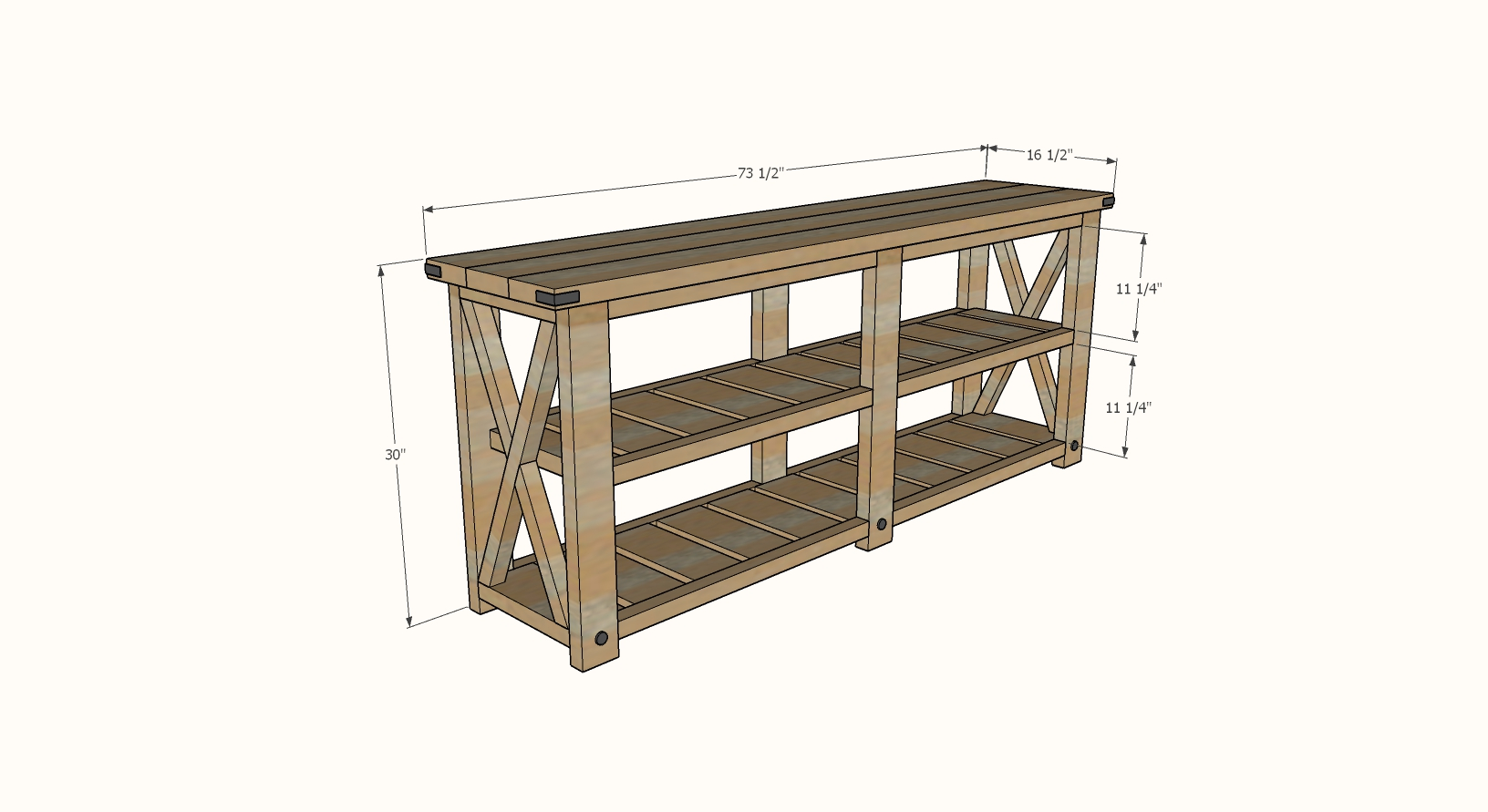 Farmhouse Console Table dimensions