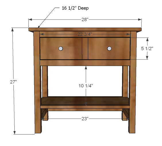 farmhouse nighstand bedside table dimensions