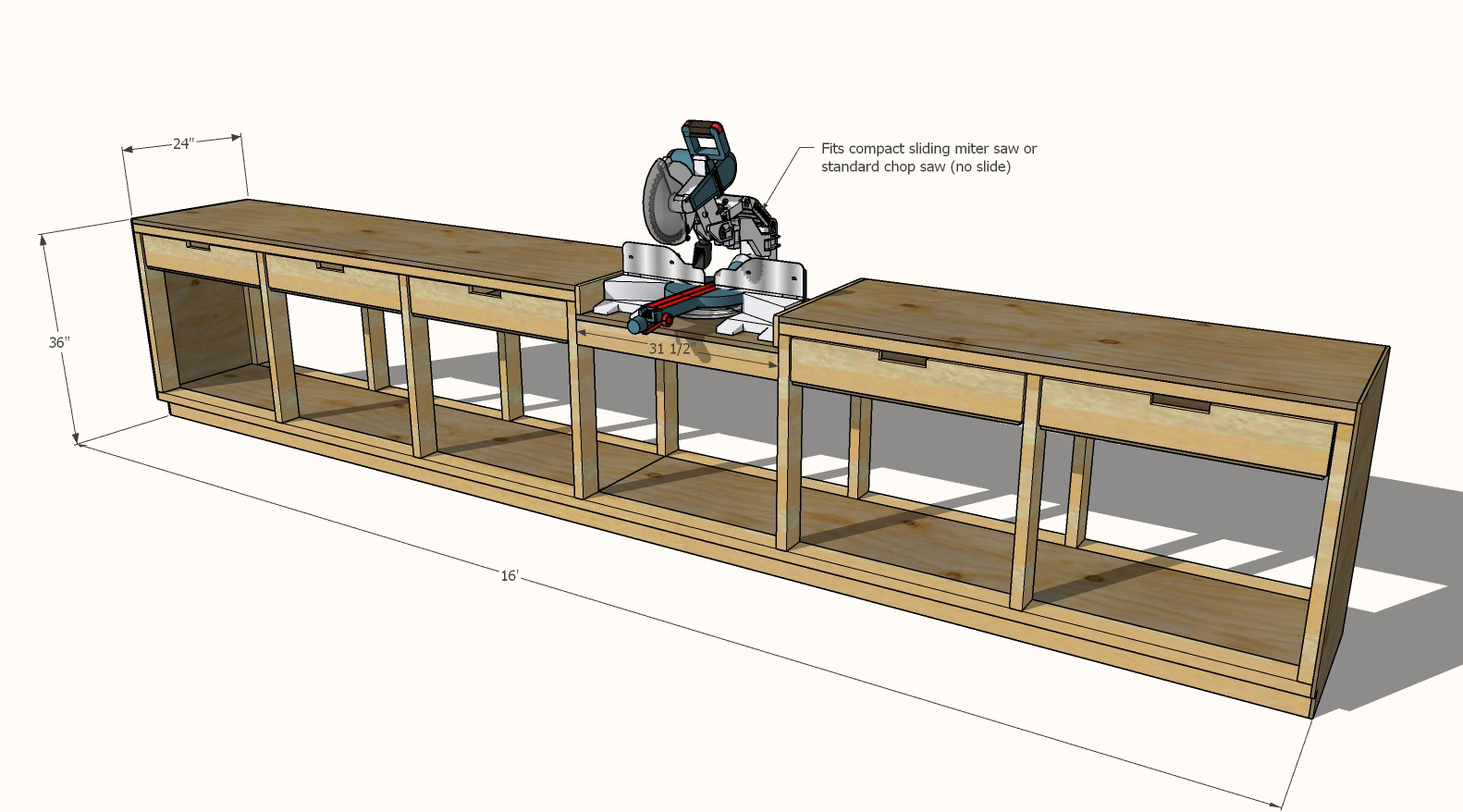 dimensions for drawer workbench with miter saw