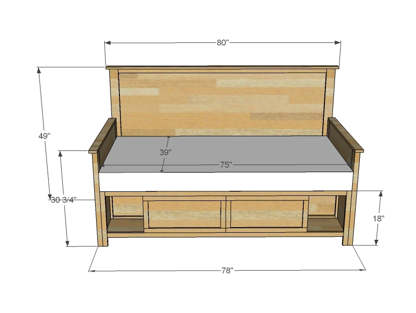 storage daybed dimensions
