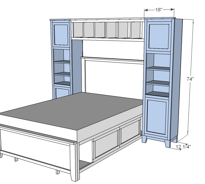 Ana White Hailey Towers For The Storage Bed System Diy Projects
