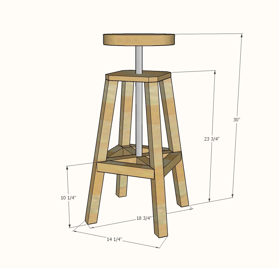 Ana White Industrial Adjustable Height Bolt Bar Stool  : industrial20stool20bolt20adjustable20plans20build20dimensions from www.ana-white.com size 932 x 893 jpeg 155kB