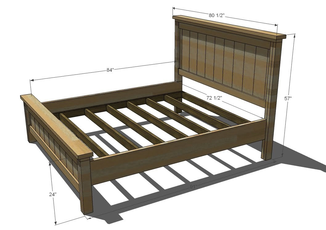 Ana white farmhouse bed calif king diy projects for Farmhouse bed plans