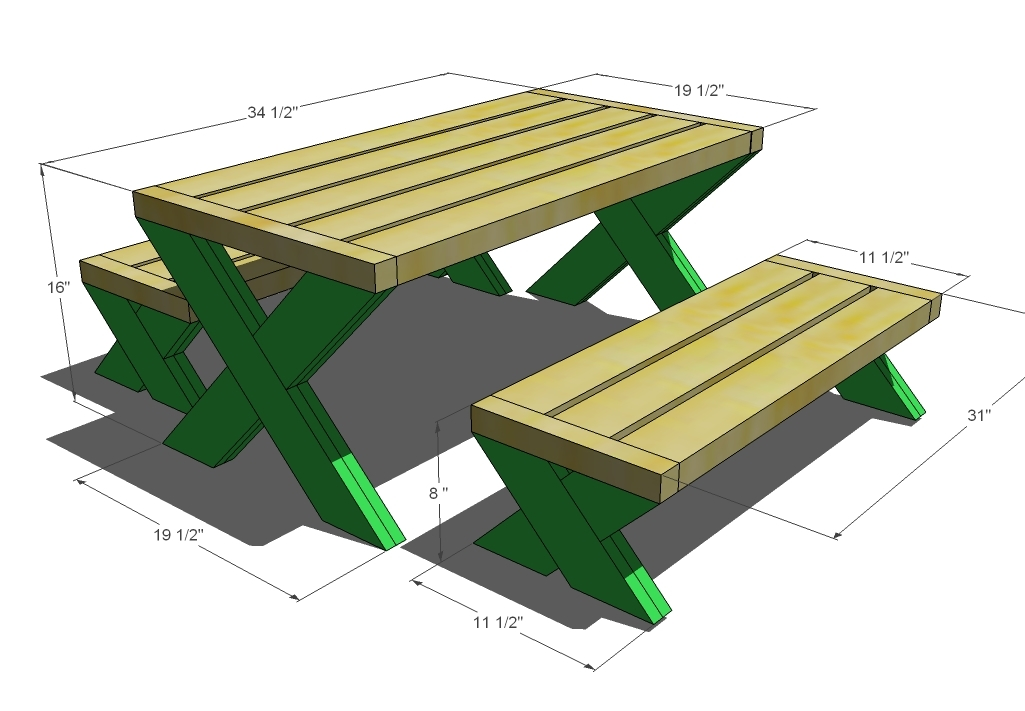 Build A Modern Kid S Picnic Table Or X Benches Ana White