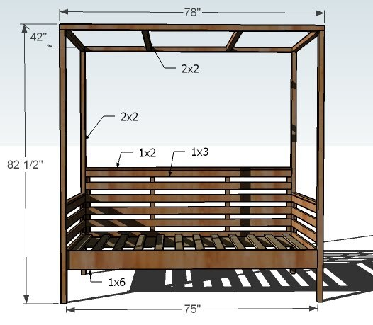 Dimensions: - Ana White Outdoor Daybed With Canopy - DIY Projects